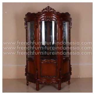 ICB 016 CURVED FROT CHINA CABINET WITH GLASS SHELVES