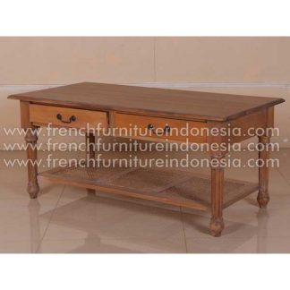RCT 010 2 DRAWERS COFFEE TABLE WITH RATTANSHILF