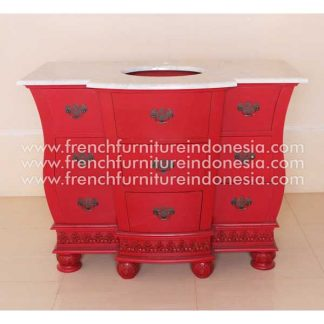RVN 003 MR WM CLEOPATRA VANITY WHIYR MARBLE TOP RED ANTIQUE
