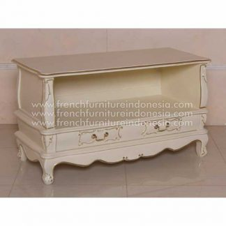 TV SIDEBOARD PLAINT IVORY 64 WITH GOLD DECOR