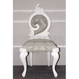 french furniture baroque chair single swirl white finish