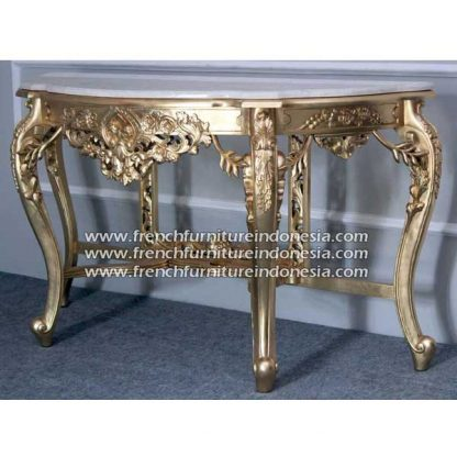 French furniture heave carved console galala marbel gold leafe finish