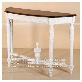 carved console white-distres top european pine wax finish