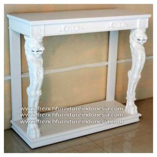 Lion Console Table antique white finish