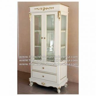 Side cabinet ivory cream heavy gold decor finish